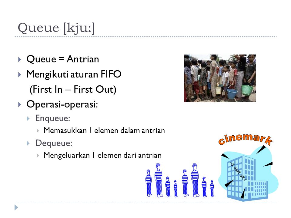 Queue [kjuː] Queue = Antrian Mengikuti aturan FIFO